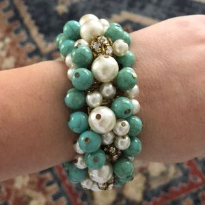 Anthropologie Turquoise and pearl bracelet